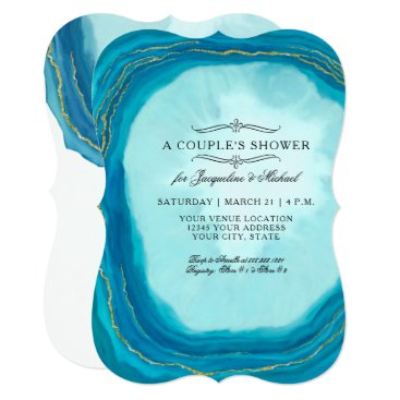 Beach Themed Couples Shower Modern Simple Geode Blue Typography Card