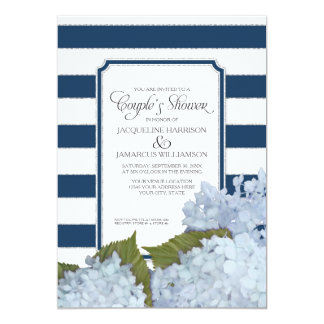 Couples Shower Navy Blue Hydrangea Script Art Deco Card