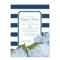 Couples Shower Navy Blue Hydrangea Script Art Deco Invitation