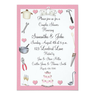Couples Shower Pink Hearts 5x7 Paper Invitation Card