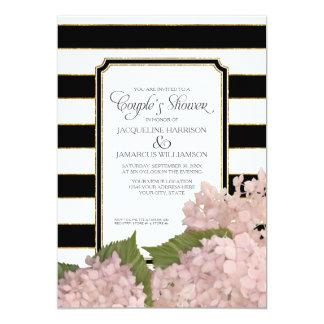 Couples Shower Pink Hydrangea Script Art Deco Card