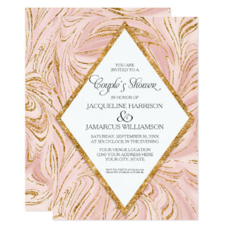 Couples Shower Rose Gold Faux Glitter Marble Blush Card