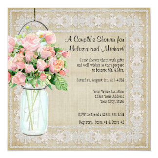 Couples Shower Rustic Country Mason Jar Roses Card