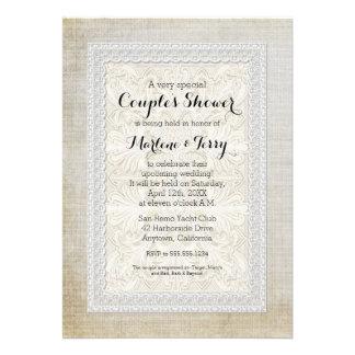 Couples Shower Rustic Lace w Aged Vintage Linen Custom Announcements