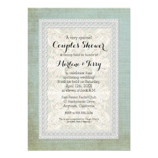 Couples Shower Rustic Lace w Aged Vintage Linen Custom Announcement