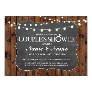 Couples Shower Rustic Wood Chalk Engagement Invite