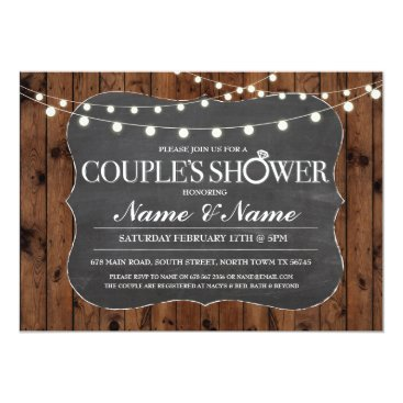 WOWWOWMEOW Couples Shower Rustic Wood Chalk Engagement Invite