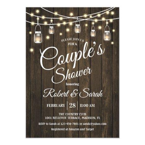 Couple's Shower - Rustic Wood Invitation