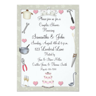 Couples Shower Sage Green 5x7 Paper Invitation Card