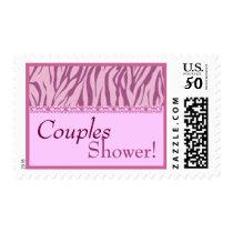 Couples Shower Trendy Pink Zebra Print Postage