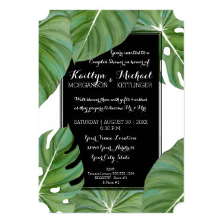 Couples Shower Tropical Leaf Foliage Beach Modern Card