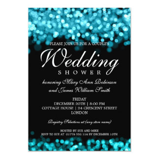 Couples Shower Turquoise Lights Personalized Invite