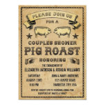 Couples Shower Vintage Pig Roast Invitation