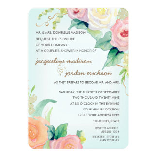 Couples Shower Watercolor Floral Roses Aqua Blue Card