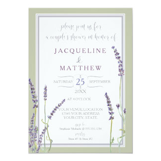 Couples Shower Watercolor Lavender Flowers Script Card