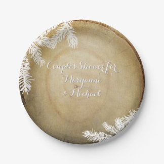 Couples Shower Woodland Forest Center Cut Tree 7 Inch Paper Plate