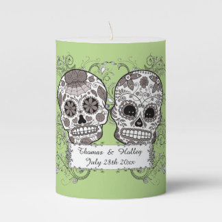 Couples Special Date Wedding Mexican Sugar Skulls Pillar Candle