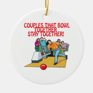 Couples That Bowl Together Double-Sided Ceramic Round Christmas Ornament
