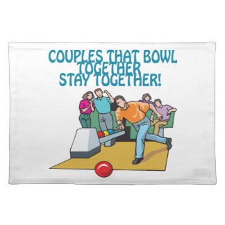 Couples That Bowl Together Cloth Placemat