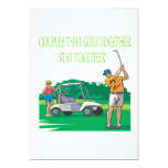 """Couples That Golf Together Stay Together 5"""" X 7"""" Invitation Card"""