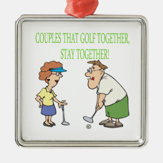 Couples That Golf Together Stay Together Square Metal Christmas Ornament