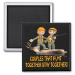Couples That Hunt Together Stay Together 2 Inch Square Magnet