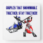 Couples That Snowmobile Together Square Wall Clocks