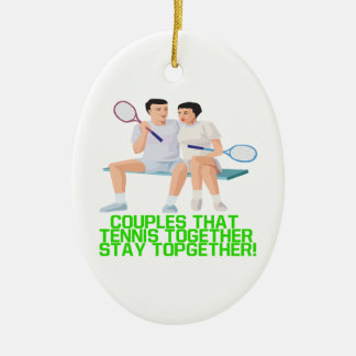 Couples That Tennis Together Double-Sided Oval Ceramic Christmas Ornament