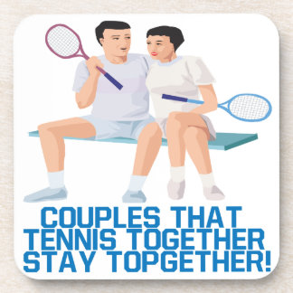 Couples That Tennis Together Drink Coaster