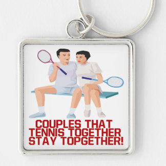 Couples That Tennis Together Keychains
