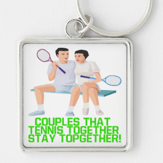 Couples That Tennis Together Key Chain