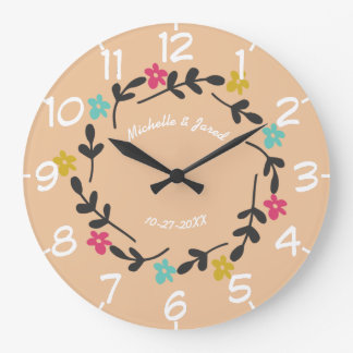 Couples Wedding Anniversary Modern Floral Wreath Large Clock