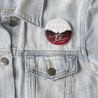 Couple's Wedding or Anniversary Design in Dark Red Pinback Button