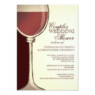 Couples Wedding Shower Aged Wine Themed Invitation