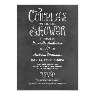 Couple's Wedding Shower | Black Chalkboard 5x7 Paper Invitation Card