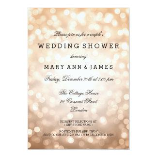 Couple's Wedding Shower Copper Glitter Lights Card