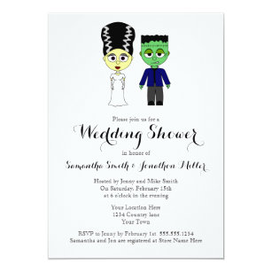 Halloween themed wedding invitations announcements zazzle couples wedding shower halloween theme invitation stopboris Image collections