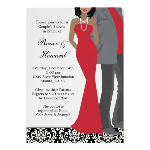 Couples Wedding Shower Invitation 5 X 7 Invitation Card