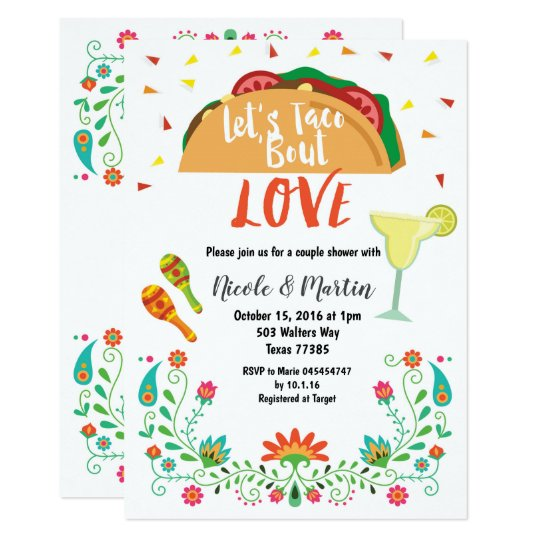 Couples Wedding Shower Invitation Fiesta With Taco