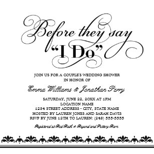 couples wedding shower invitation wedding vows