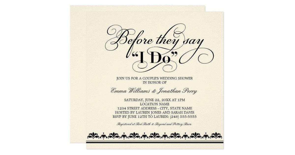 Wedding Ceremony Invitation Wording: Couple's Wedding Shower Invitation