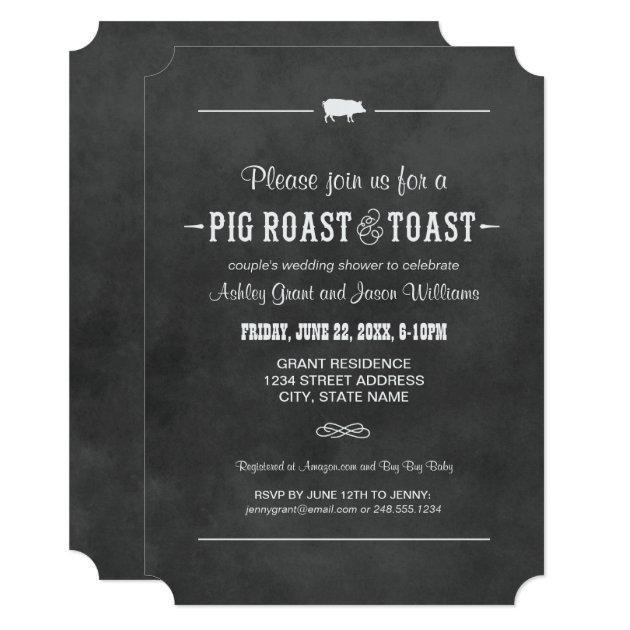 Couple's Wedding Shower | Pig Roast & Toast Card | Zazzle