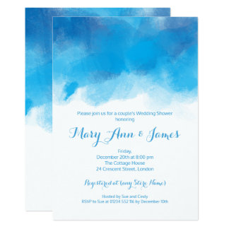 Couple's Wedding Shower Summer Blue Watercolor Card