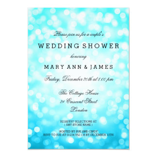 Couple's Wedding Shower Turquoise Glitter Lights Card
