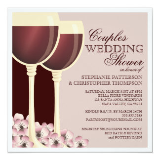 Couples Wedding Shower Wine Themed Invitation