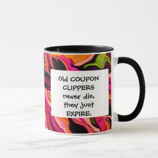 coupon clippers joke mug