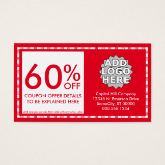 coupon. (color customizable) business card
