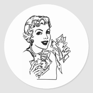 Coupon Money Lady - Add Your Text Classic Round Sticker