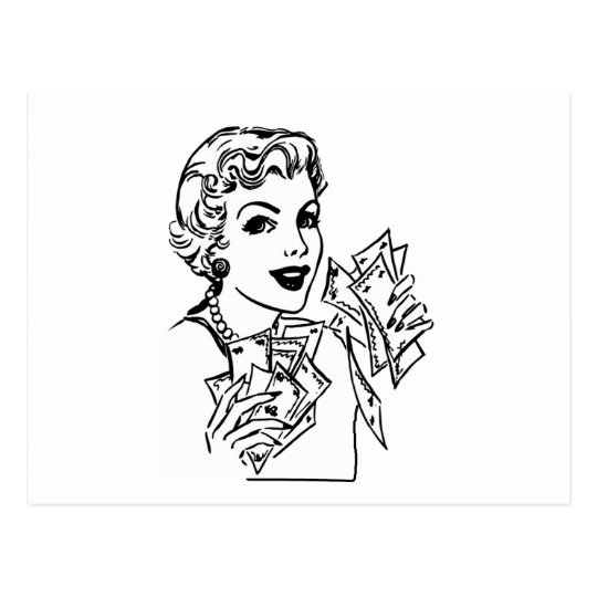 Coupon Money Lady - Add Your Text Postcard