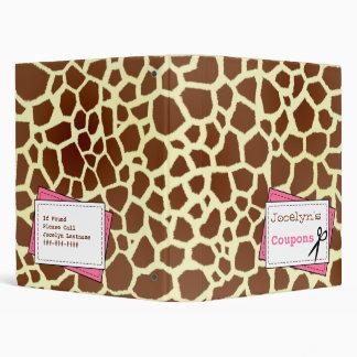 Coupon Organizer - Giraffe Print & Pink Binder